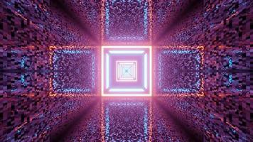 túnel de néon quadrado com paredes distorcidas ilustração 3 d
