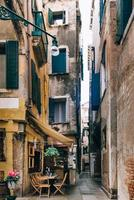 2017 Venice, Italy- Tourist routes of the old Venice streets of Italy photo