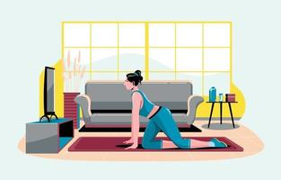 Fitness Workout Watching Video Online at Home vector