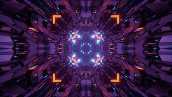 ilustração de 3 d de túnel colorido reflexivo