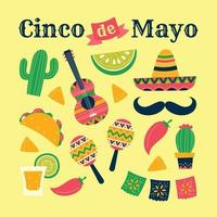 Colorful Flat Style Cinco de Mayo Icon Set vector