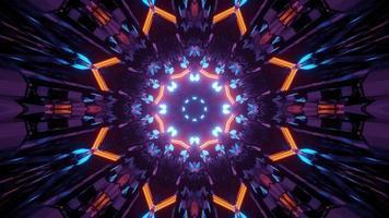 ilustração de 3 d de túnel abstrato com luzes de néon