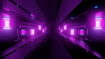 túnel de vidro violeta com lâmpadas 3 d ilustração