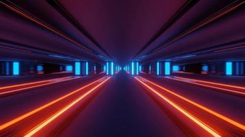 Futuristic Tunnel with Bright Neon Lines 3 D Illustration