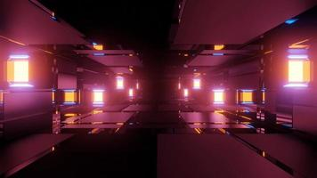 corredor abstrato com paredes de vidro ilustração 3 d video