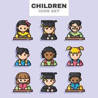 conjunto de iconos de niños vector