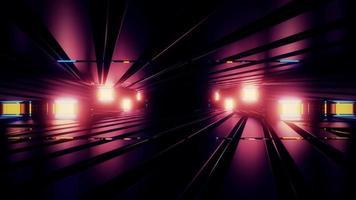 Túnel surreal com iluminação rosa ilustração 3 d