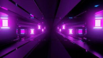 ilustração 3 d abstrata do corredor com paredes de vidro e lâmpadas video