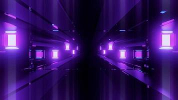 Futuristic Tunnel 3 D Illustration with Neon Lamps on Walls