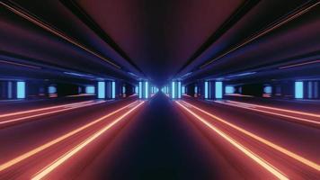 corredor com iluminação neon colorida ilustração 3 d video
