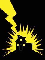 Thunder Lightning Strike House Building Silhouette Illustration Vector