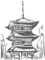 Sketch Doodle Kiyomizu Temple Landmark Japan Destination Outline vector