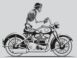 silueta vintage esqueleto motorista montando motocicleta retro helicóptero vector