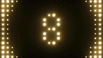 contagem regressiva de 10 a 0 com luzes piscando em um loop de fundo de gráficos em movimento