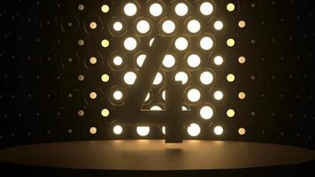contagem regressiva 5 a 1 na frente do movimento da lâmpada led de iluminação