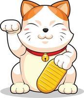 gato de la suerte makeni neko fortuna haciendo señas dinero dibujos animados vector mascota
