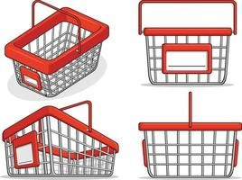 cesta de la compra, supermercado, tienda, caricatura, aislado, ilustración vector