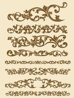 elemento decorativo del vector de la línea divisoria ornamental javanes