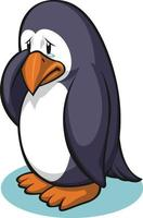 Sad Penguin Wiping Tears Crying Cartoon Illustration Vector Drawing