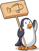 pingüino hambriento con cartel de madera ilustración de dibujos animados dibujo vectorial vector