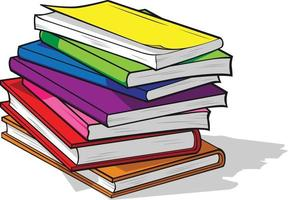 Colorful Study Text Books Pile Education Cartoon Illustration Vector