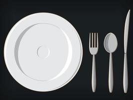 Banquet Formal Dining Utensils Plate Fork Spoon Knife Illustration vector
