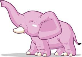 Elephant Greeting Raising Trunk Children Cartoon Mascot Illustration Drawing vector