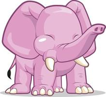 Cute Elephant Pointing Trunk Mascot Children Cartoon Vector Drawing