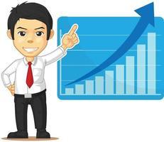 Office Employee Increasing Graph Presentation Chart Cartoon Vector