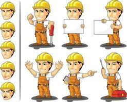 Industrial Construction Worker Handyman Cartoon Customizable Mascot vector