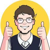 nerd blogger pulgares arriba dibujos animados escritor autor mascota periodista vector