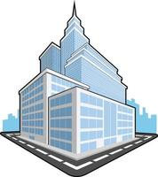 Office Company Building Corporation Tower Cartoon Vector Illustration