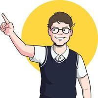 empollón escritor de dibujos animados autor de dibujos animados blogger periodista mascota ilustración vector