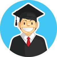 Graduation Mortarboard Trencher Cap Boy School Student College Cartoon vector