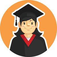 Graduation Mortarboard Trencher Cap Girl School Student Cartoon Mascot vector