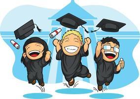 Throwing Graduation Mortarboard Trencher Cap Cartoon School Student vector