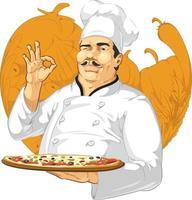 Pizzeria Restaurant Chef Pizza Maker Cook Parlor Cartoon Mascot vector