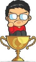 niño haciendo éxito puño logro trofeo idea ilustración de dibujos animados vector