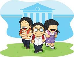 escuela, niños, estudiante, volver, escuela, caricatura, vector, ilustración vector