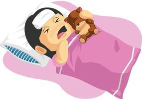 enfermo, frío, comprimido, niño, fiebre, gripe, enfermedad, caricatura, ilustración vector