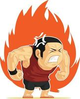Angry Mad Furious Muscular Man Fiery Rage Cartoon Illustration Drawing vector