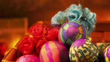 Colorful Paschal Easter Eggs and Flowers video