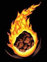 cometa meteorito caída ardiente asteroide dibujo ilustración vectorial de dibujos animados vector
