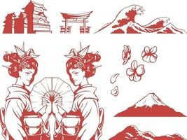 Silhouette Japan Wave Geisha Shrine Black Illustration Outline Drawing vector