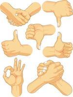 gesto de mano dedo símbolo de lenguaje de señas dibujo de ilustración de dibujos animados vector