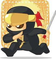 caricatura, ninja, tenencia, japonés, espada, ilustración, mascota, dibujo vector