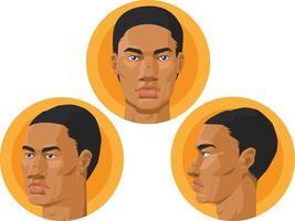 hombre afroamericano, cabeza, frente, perfil, vista, caricatura, vector, dibujo vector