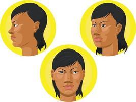 mujer afroamericana, cabeza, frente, perfil, vista, caricatura, vector, dibujo vector