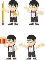 Nerd Geek Bookworm Boy Glasses Student Cartoon Mascot Vector Drawing