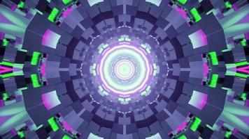 movimento do túnel com iluminação colorida 3d video